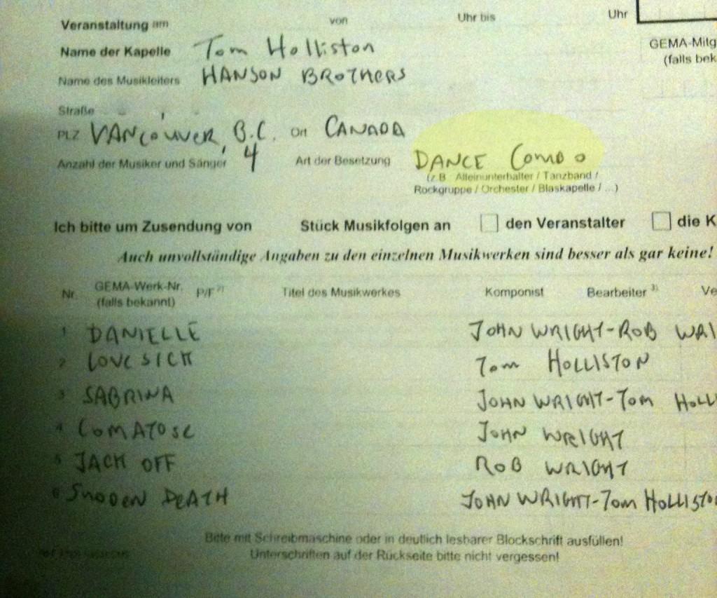 Gema Liste der Hanson Brothers